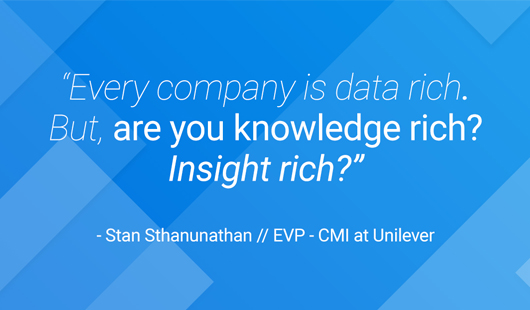 A quote from Stan Sthanunathan, EVP - CMI at Unilever on CPG analytics: ``Every company is data rich. But are you knowledge rich? Insight rich?``