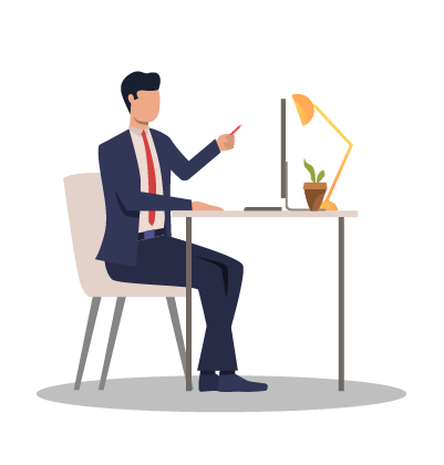 AnswerRocket is designed for business people, like this man sitting at a desk.