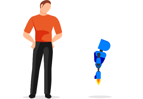 A man acknowledges at a RocketBot, AnswerRocket's innovating AI-powered automators of analysis workflows.