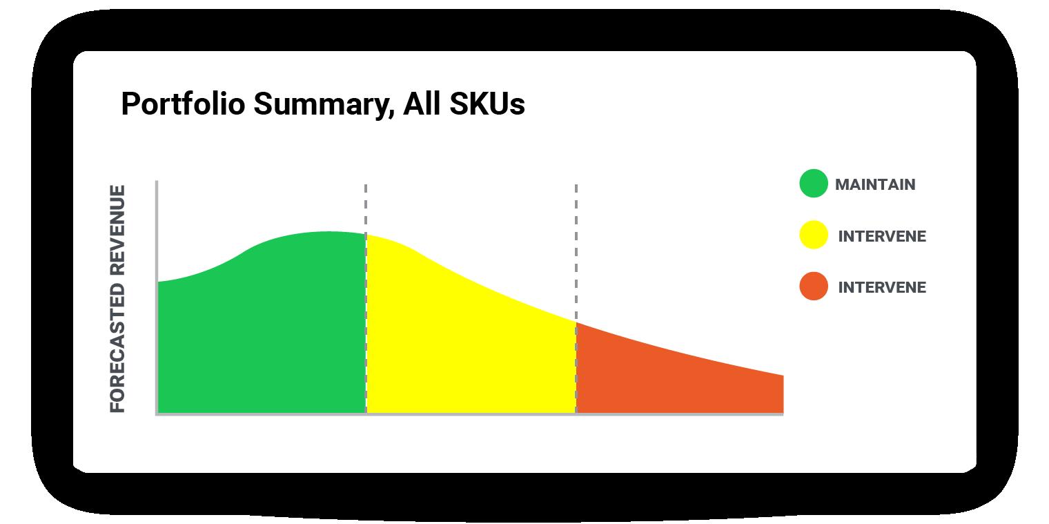 This SKU portfolio summary groups SKUs by performance